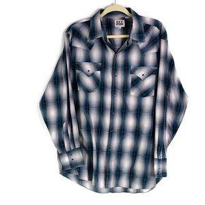Ely Cattleman Blue Plaid Western Shirt G19